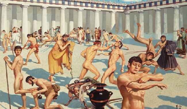 Les hommes grecs nus