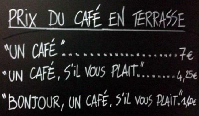 Café où parler sans être poli rend votre café plus chère