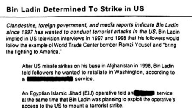 Note de Bush sur Ben Laden avant les attentats du 11 septembre