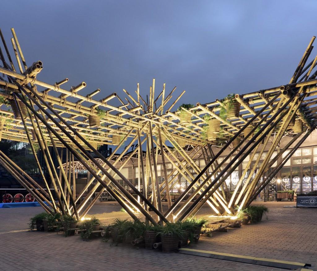 Threehouse qui utilise du bamboo recyclé