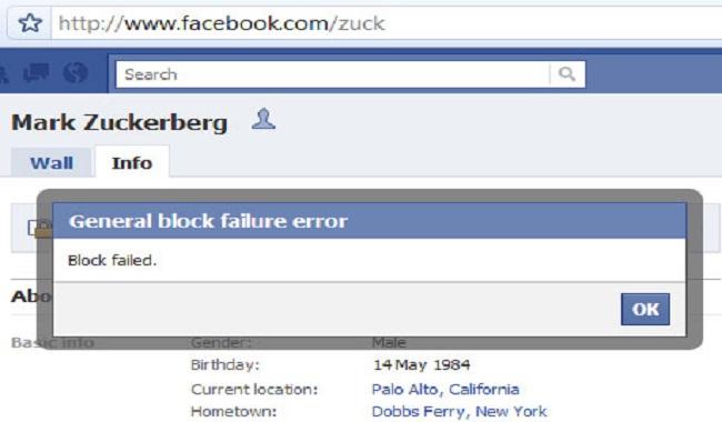 Impossible de bloquer le fondateur de Facebook sur Facebook